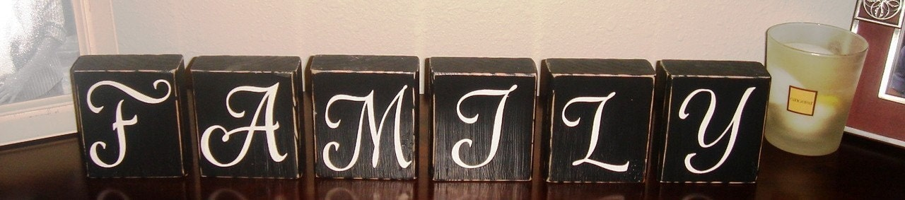 CUSTOM PERSONALIZED WOODEN BLOCKS - Wall - Shelf - Sign - Mantle - Family - Last Name - Antiqued - Home Decor - Letter - Initial - Distressed - Gift
