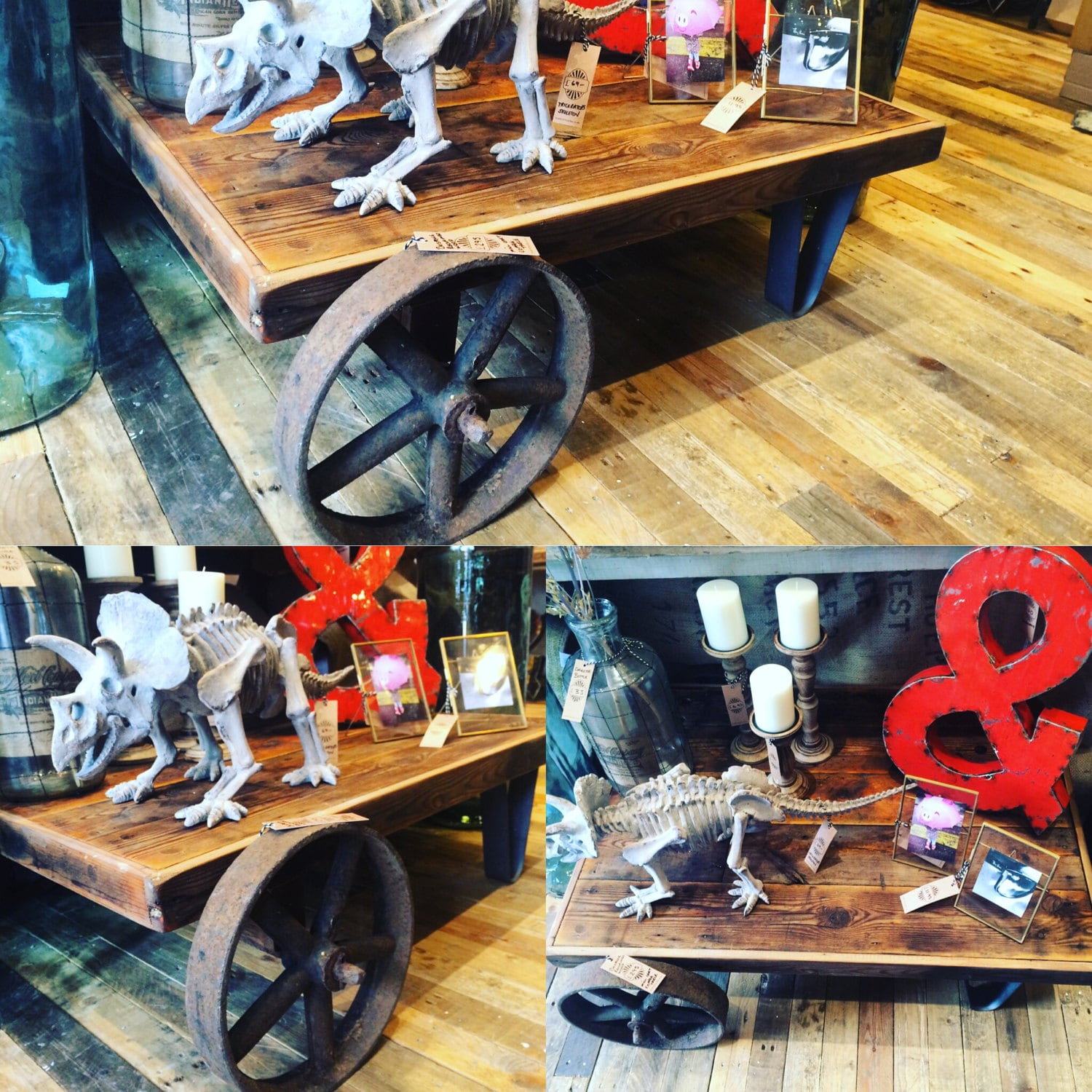 Bespoke reclaimed wood vintage industrial coffee table. rusty metal mill wheels antique aged pine made to order side table tv table stand
