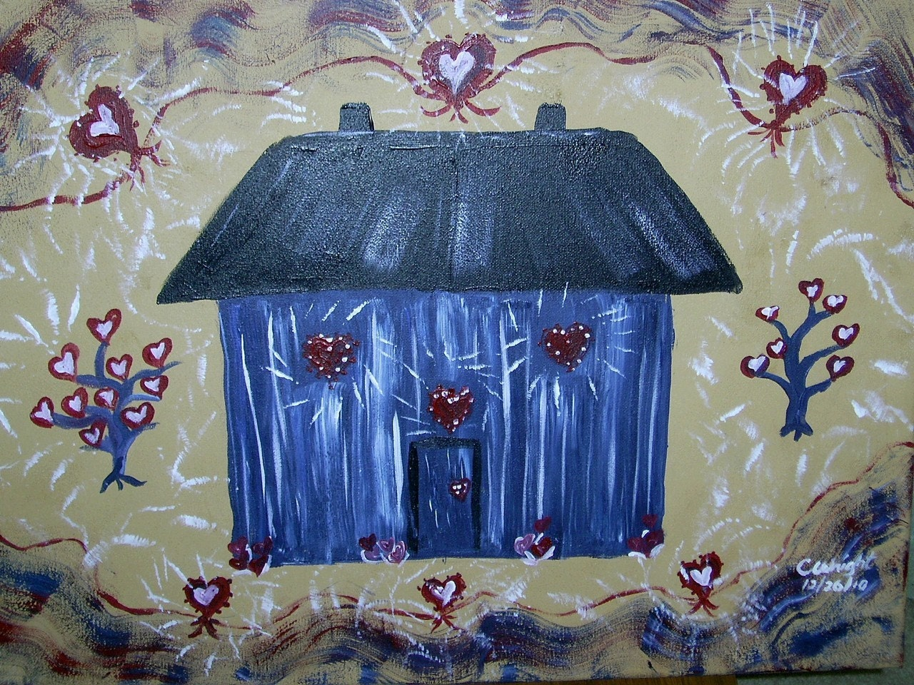 Only Hearts Build a Home 18x24 inch acrylic painting on stretched canvas FREE USA SHIPPING