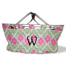 SHIPS IN 1 to 2 DAYS - Monogrammed Pink n Green Damask Large Market Tote - 2nd ships for One Dollar