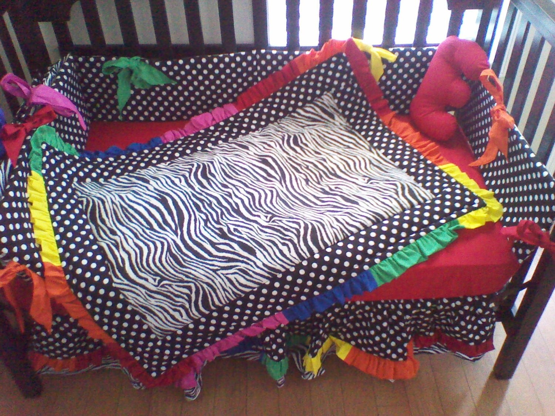 New crib bedding set in black white polka by kustomkidsbedding for Primary color baby bedding