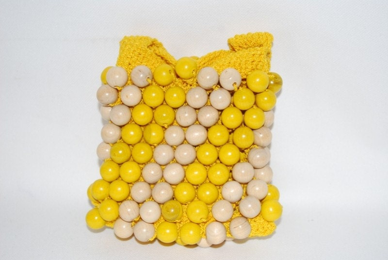 Small Yellow Crochet Purse with Wood Beads