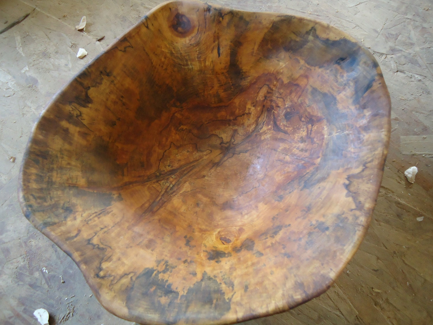Unique spalted maple bowl hand carved wood that by