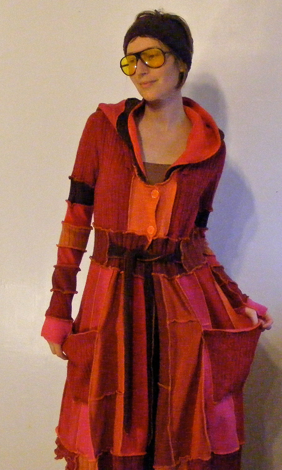 Women's Upcycled/Recycled Dragon Fire Sweater Coat, Katwise Style, Size Medium / Large - lovemadevisiblestore