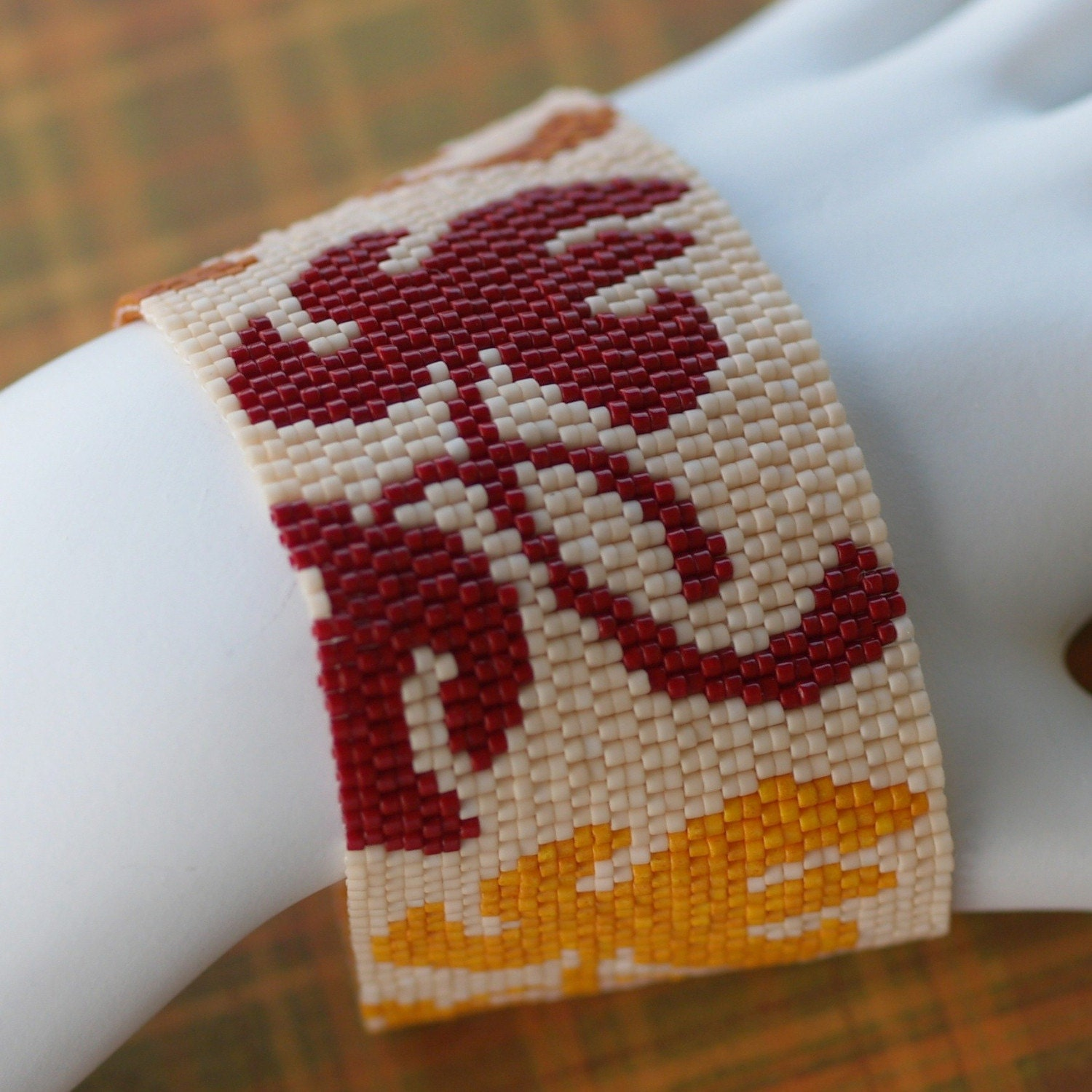 Leaves in the Fall - Wide Beadwoven Cuff (2974)