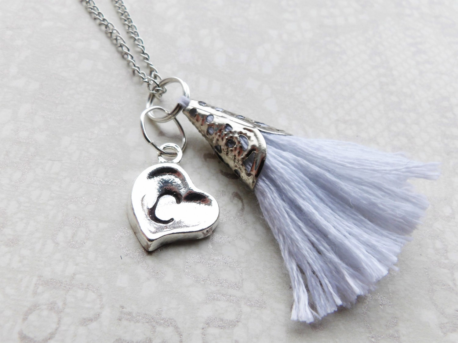 Personalized Necklace Silver Heart with Initial  Your Choice of Tassel Minimal Necklace Bridal Jewelry Bridesmaid Necklace Gift