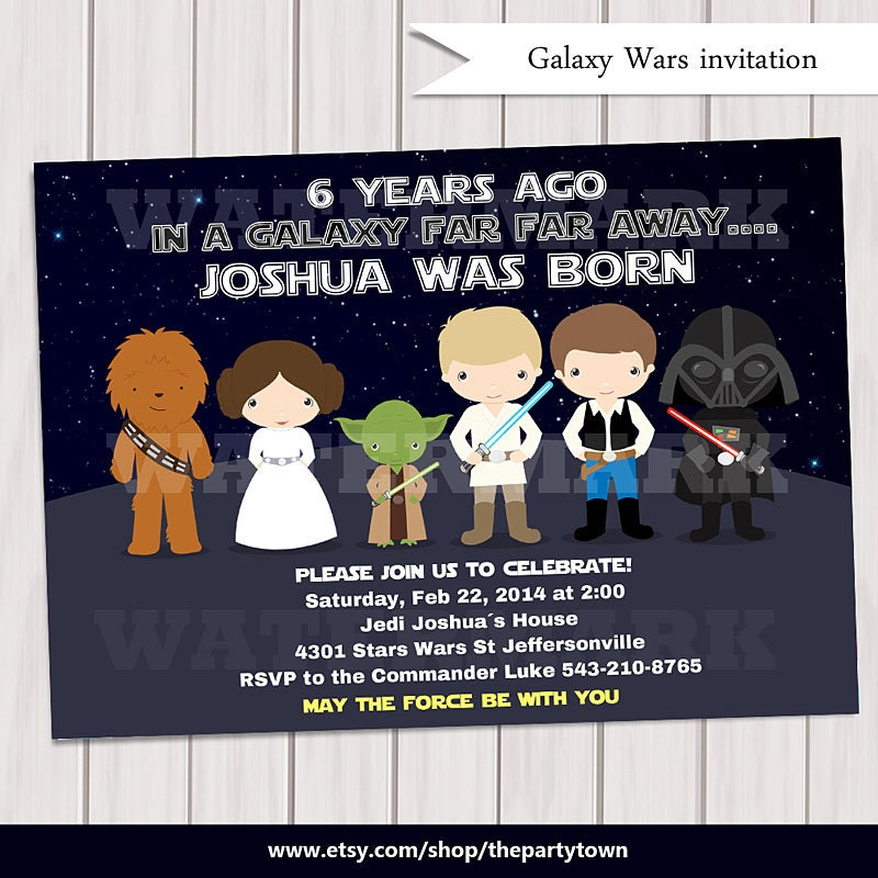 Galaxy wars Birthday Party Invitation / Digital printabe ...