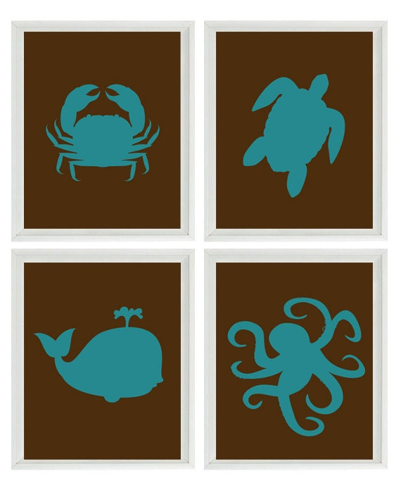 Beach Nautical Nursery Art Print Set Brown Teal by RizzleandRugee