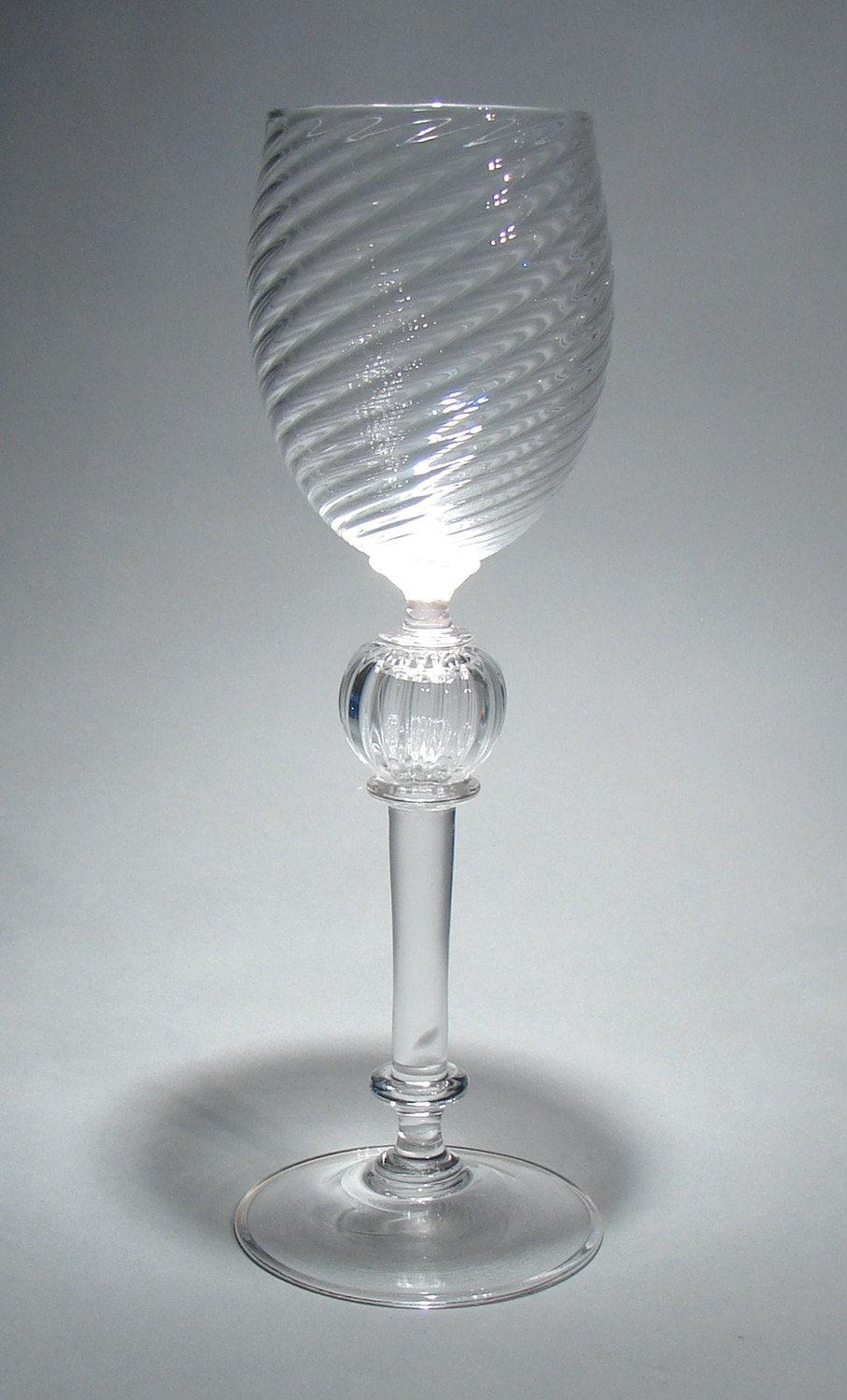 Hand Blown Venetian Style Wine Glass