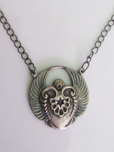 Custom Steampunk Silver Heart with Wings Pendant Necklace