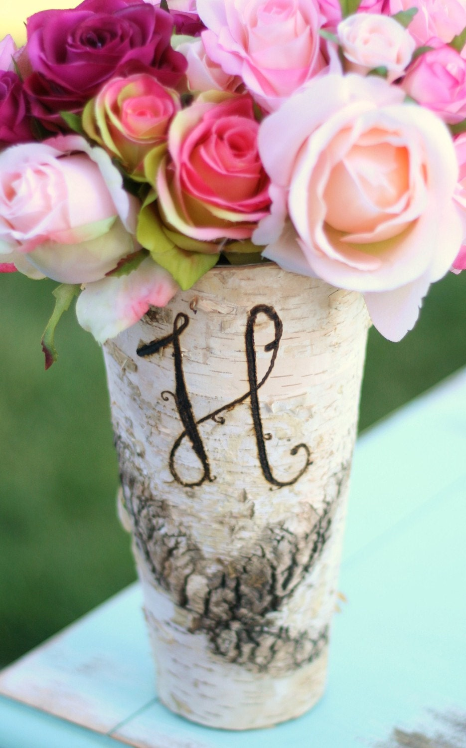 Personalized Wood Birch Bark Wedding Centerpiece By