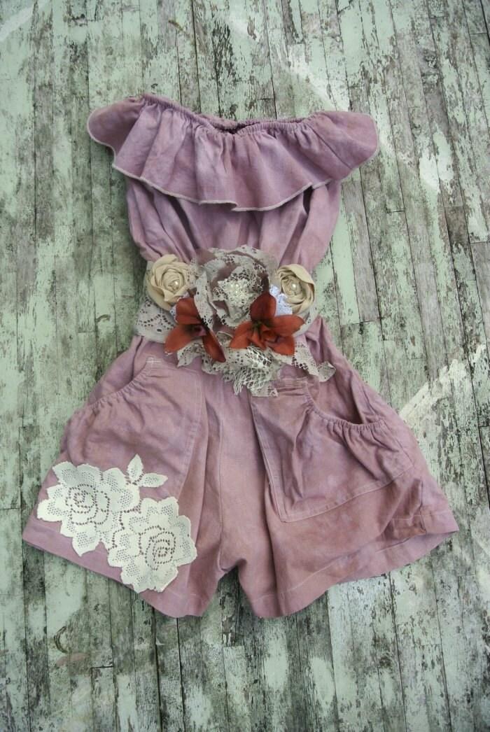 Romper цыганский Cowgirl, шоколадно-коричневый шорты, недоуздок комбинезон, коттедж шикарный, деревенское белье, поднялся аппликация, фермы девушка, летней одежды