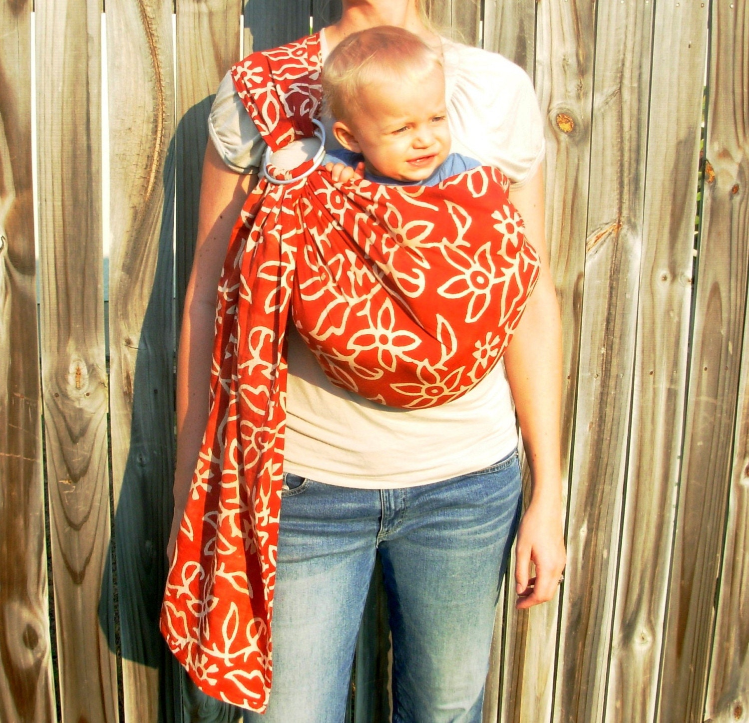 Earthy Floral Batik Sling - Red - also comes in olive green or blue