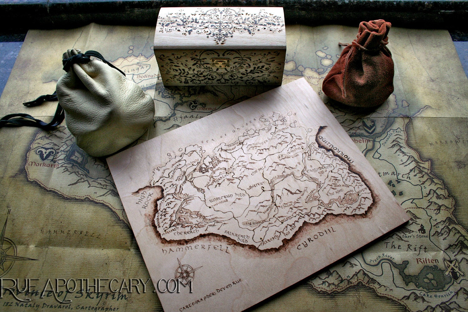 Pyrography Wood Burning Skyrim Map - RueApothecary