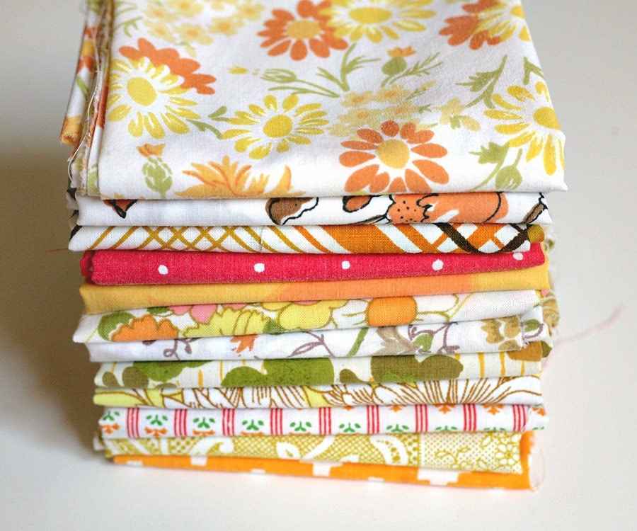 Vintage Sheet 12 Fat Quarter Bundle - Fall Autumn Thanksgiving - shabbysheets