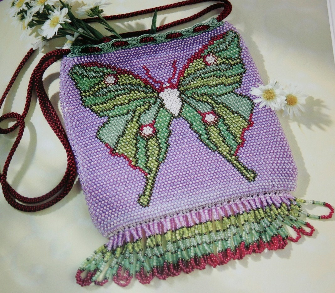 Knitting Patterns Bead Knitted Bags by elanknits on Etsy