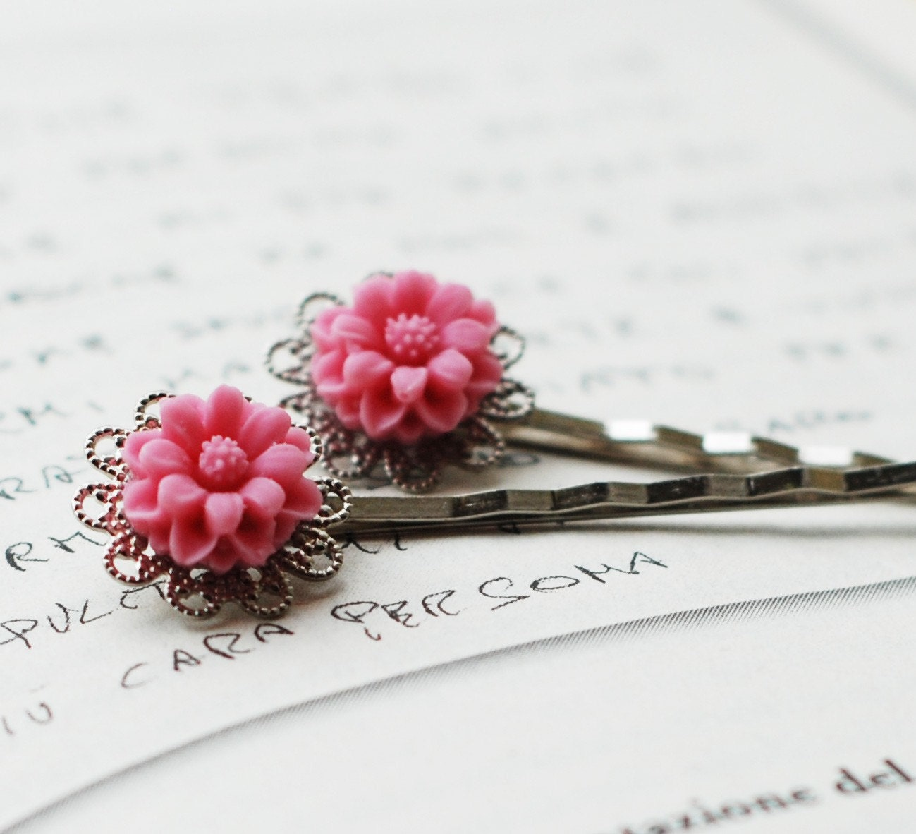 Pink Flower Silver Bobby Pin