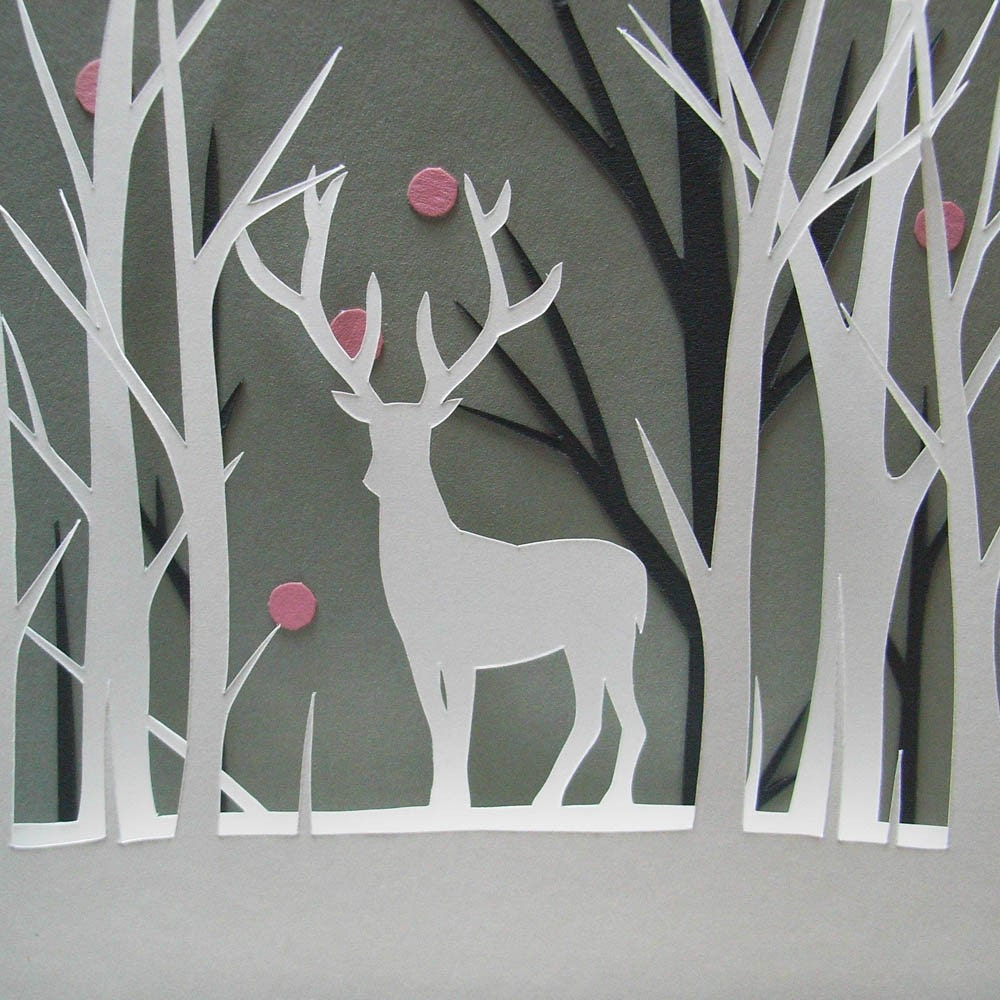 Deer and the Pink Snow papercut