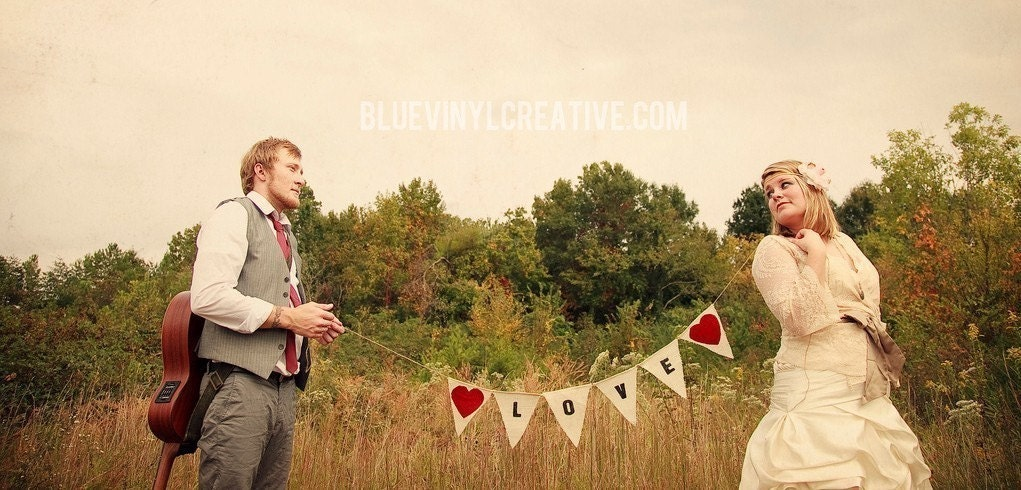 Love banner with red fabric hearts