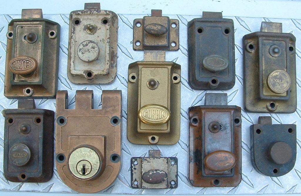 Old Vintage Door Lock Dead Bolt Hardware Lot Of By