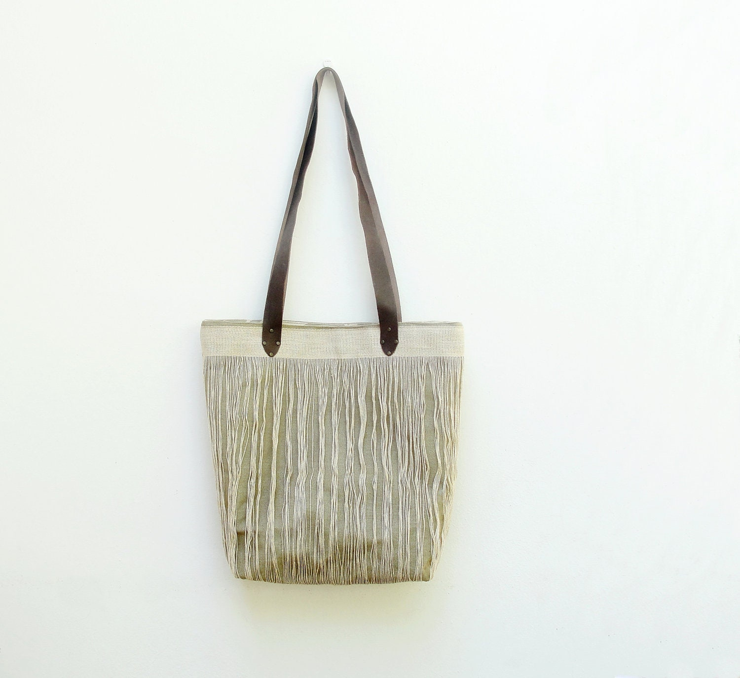 Large Linen Leather Tote - Natural Tribal Bohemian - StarBags