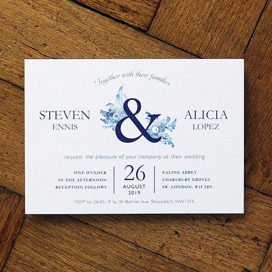 Blue China  Wedding Invitation Set. Willow pattern and Delft styling on fine luxury textured card. Classic English wedding. Formal occasion