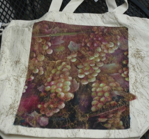 original  art muslin tote wine grapes da vinci