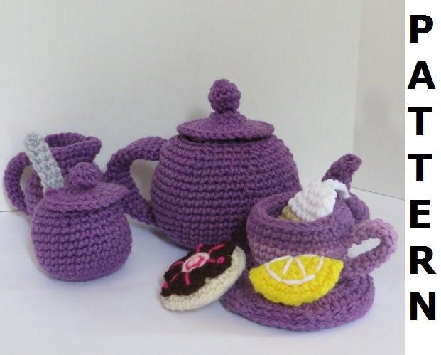 Tea Set Crochet Pattern finished items by CrochetNPlayDesigns