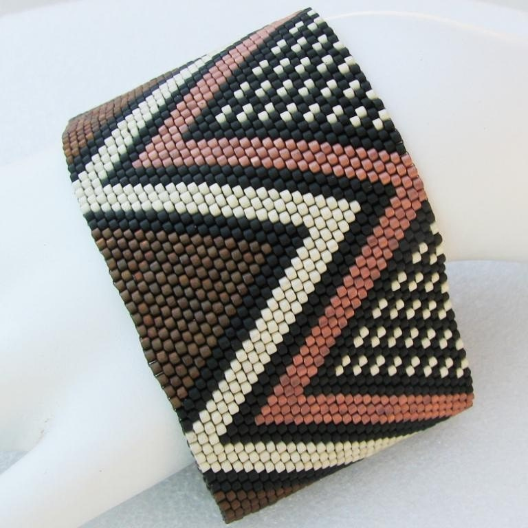 Extra-wide Edition of African Mudcloth Inspired Peyote Cuff  (2428)