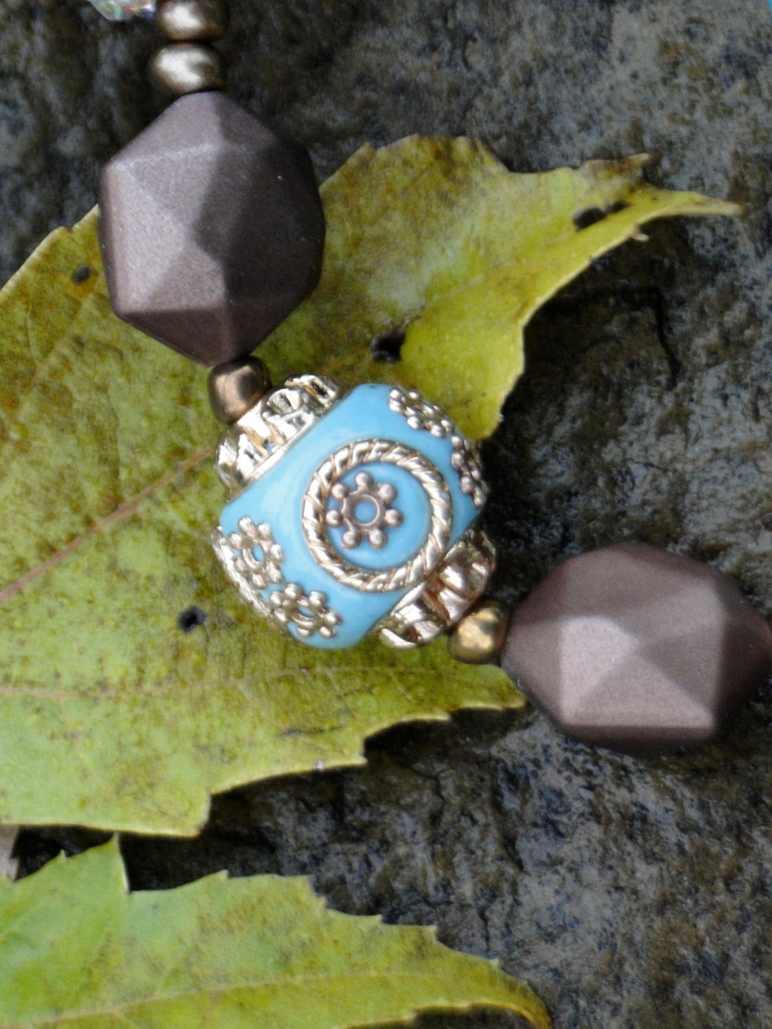 Fountains of Diamonds Necklace, Bracelet, Earrings Set - Turquoise, Teal, Brown, Autumn - Build a Jamaican Church