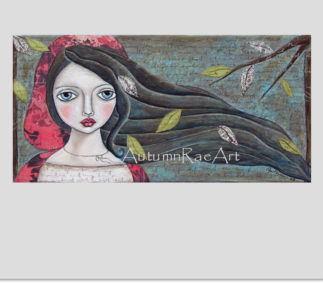 LITTLE ReD RiDiNG HooD SIGNED PRINT from original painting by Autumn