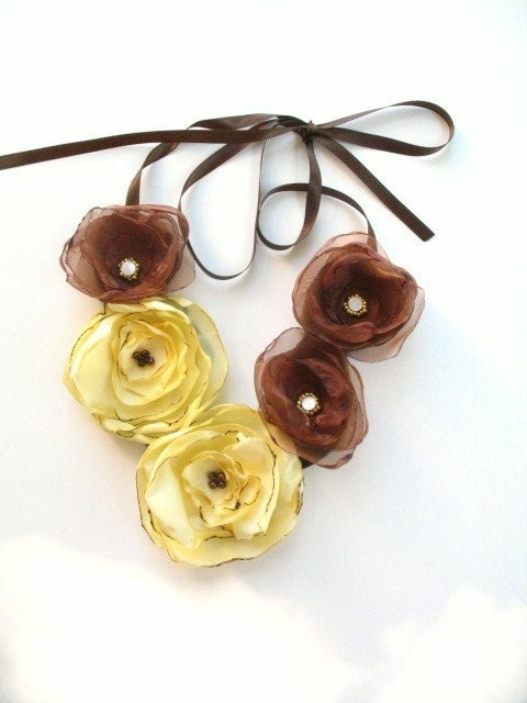 Poppy Statement Necklace in Caramel and Buttercream - PrettyPigDesign