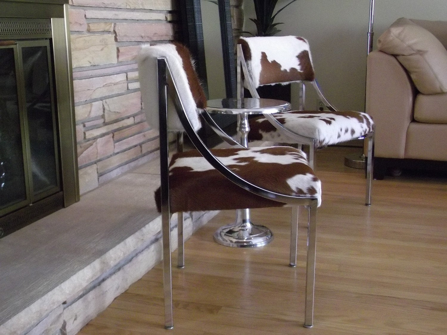 Vintage Chrome and Cowhide Dining Chairs Set of by