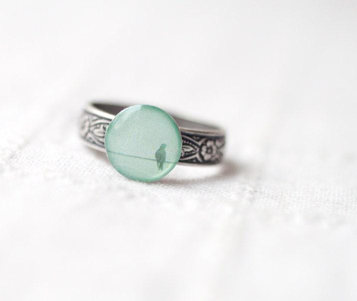 Mint bird ring - Spring jewelry - Pastel trend (R040) - BeautySpot
