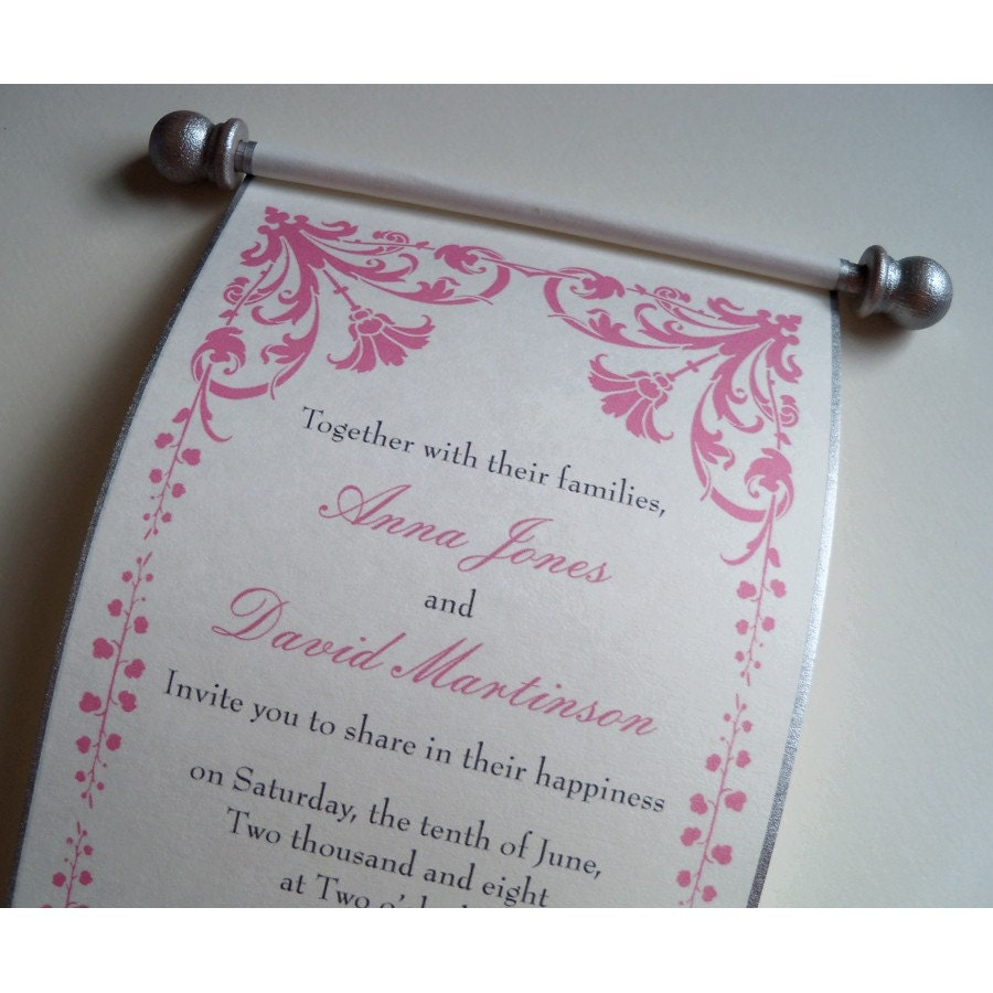 Damask Parchment Scroll Invitation Sample By ArtfulBeginnings