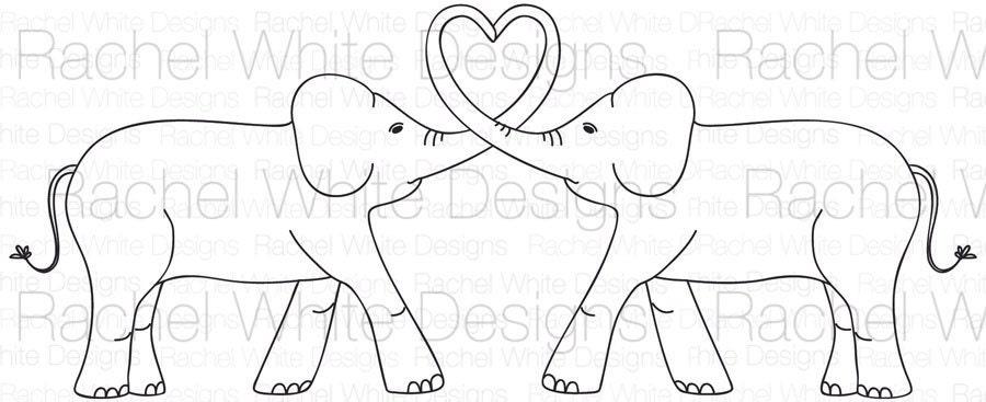 Elephant Stencil Trunk Up Elephant Trunk Heart Digital