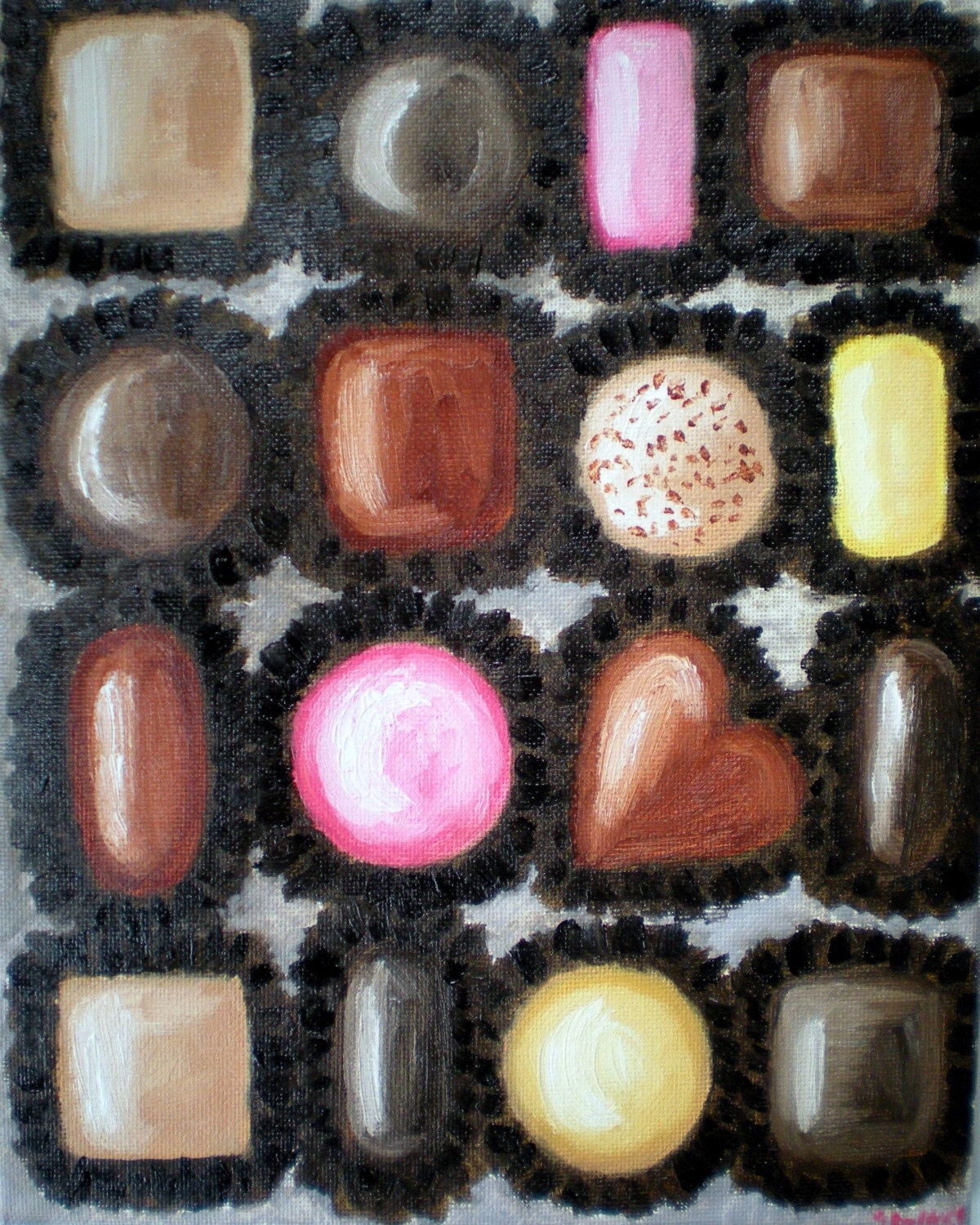 Original Ultimate Box of Chocolates Oil Painting 8x10