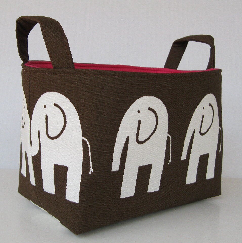 Fabric Organizer Storage Bin Container Basket - Ele Elephant - White on Chocolate Brown