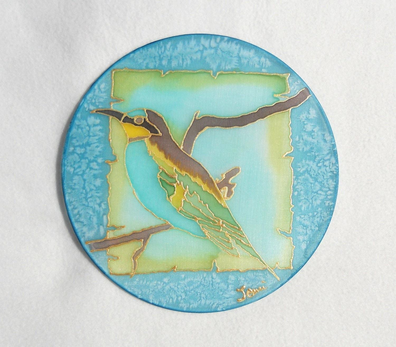 Blue Bird Hand Painted Silk Suncatcher Home Decor By Emanza
