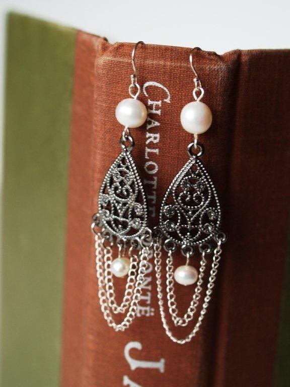 Silver and Pearl Chandelier Earrings