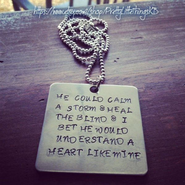 Hand stamped aluminum square with quote by for Words to tin man by miranda lambert
