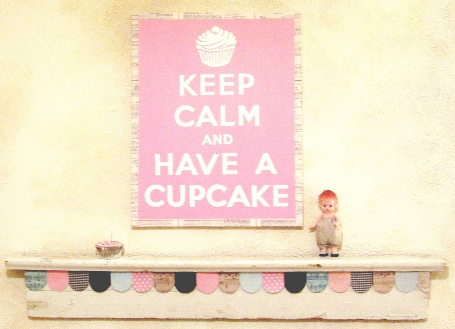 Etsy :: jennysbakeshop :: KEEP CALM AND HAVE A CUPCAKE original Totally Hand Painted Canvas framed with vintage baking book pages AQUA