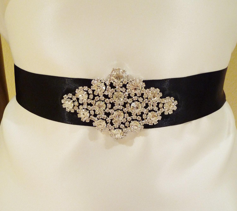 Rhinestone sash calista wedding wedding sash crystal sash black