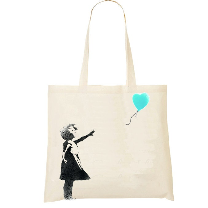 banksy inspired girl and balloon tote