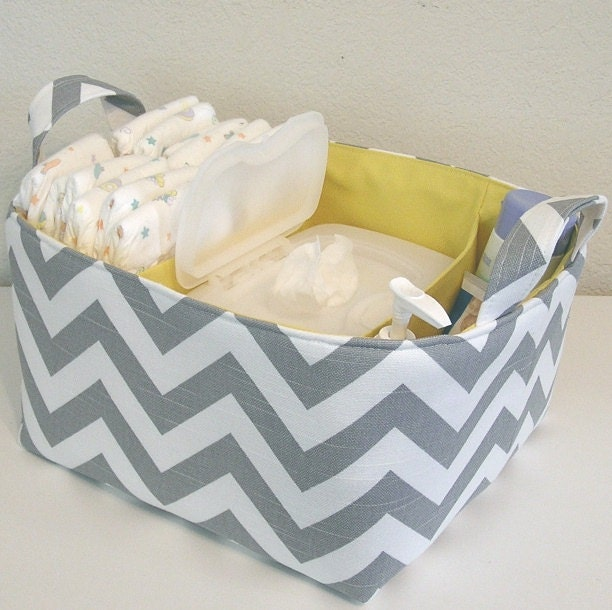 Gray White Slub Zig Zag Yellow Accent Fabric Organizer Bin Basket Diaper Caddy ..... WITH Dividers