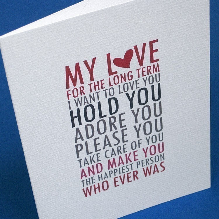 Funny Love Cards / Naughy Adult Sex Card for Man or Woman on Anniversary, Valentine, Birthday, Anytime / Long Term, Short Term (CLV-S001)