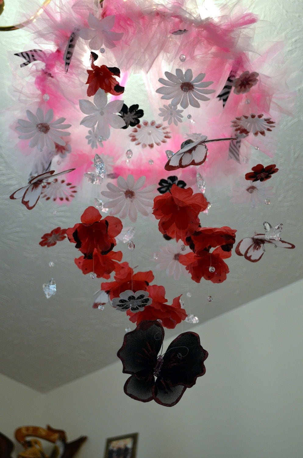 Hot Pink/White/Black Butterfly mobile Nursery Decor, Baby Shower Gift
