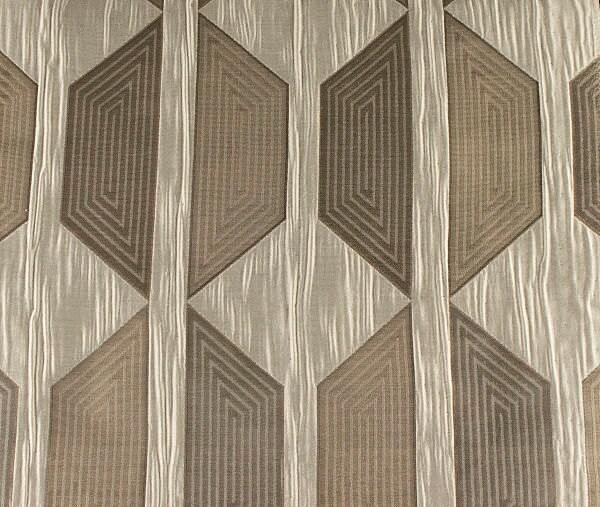 Custom Cream Curtains with Beige / Gray Geometric Pattern One Panel ...