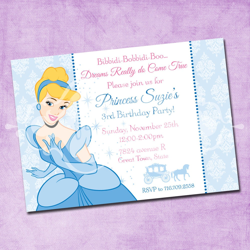 Cinderella Birthday Invitation By Freshinkstationery On Etsy