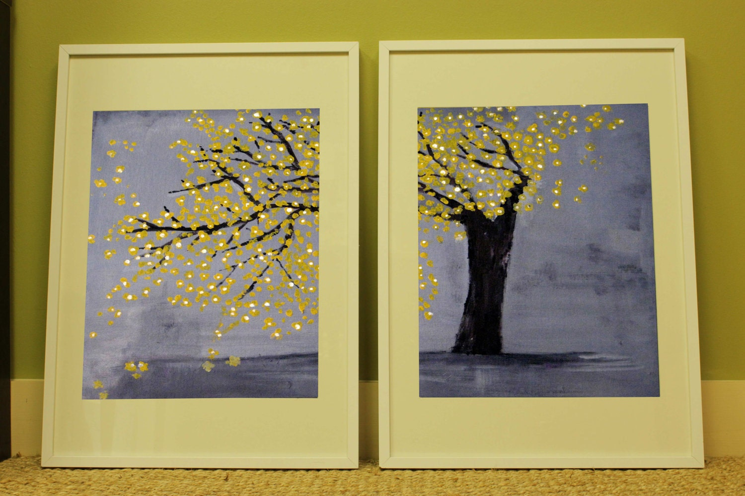 Yellow Blooms Tree Diptych Wall Art